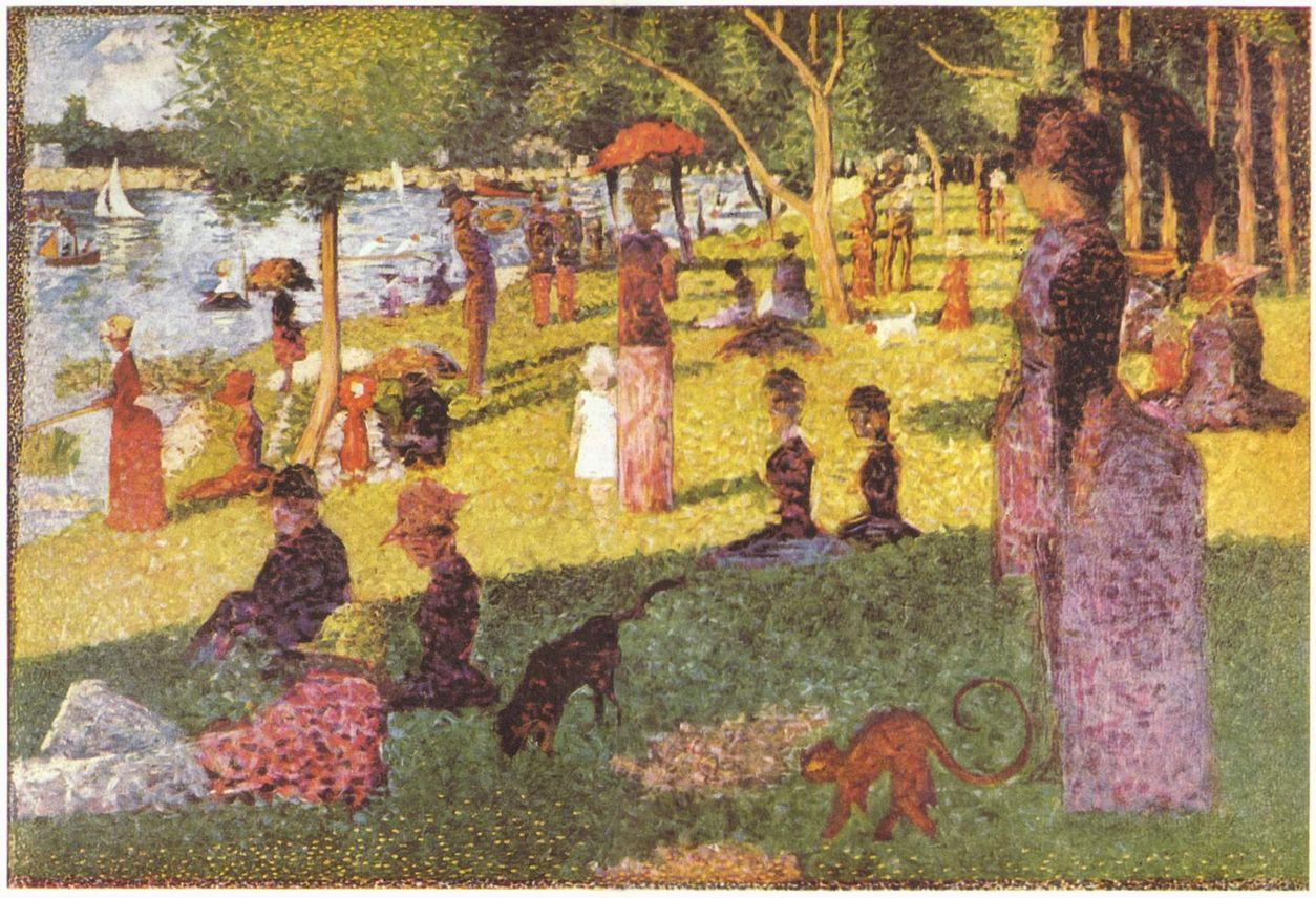 an examination of the painting a sunday on la grande jatte by georges seurat Originally painted in 1884-86 sunday, afternoon on the island of la grande jatte is seurat's most famous painting and one of 19th century's biggest icons measuring 817 x 12125 it took him two years to fully finish the image and start the neo-impressionism art movement.