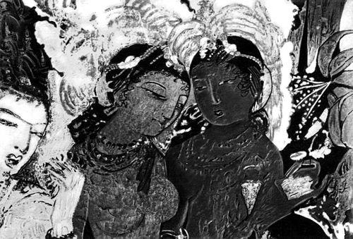 «Божество Индра и небесные девы-апсары» (Аджанта)