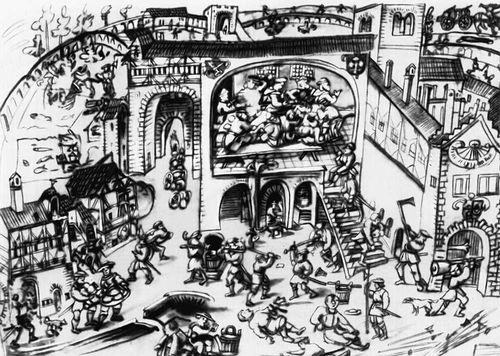 Восставшие крестьяне штурмуют монастырь (Германия)