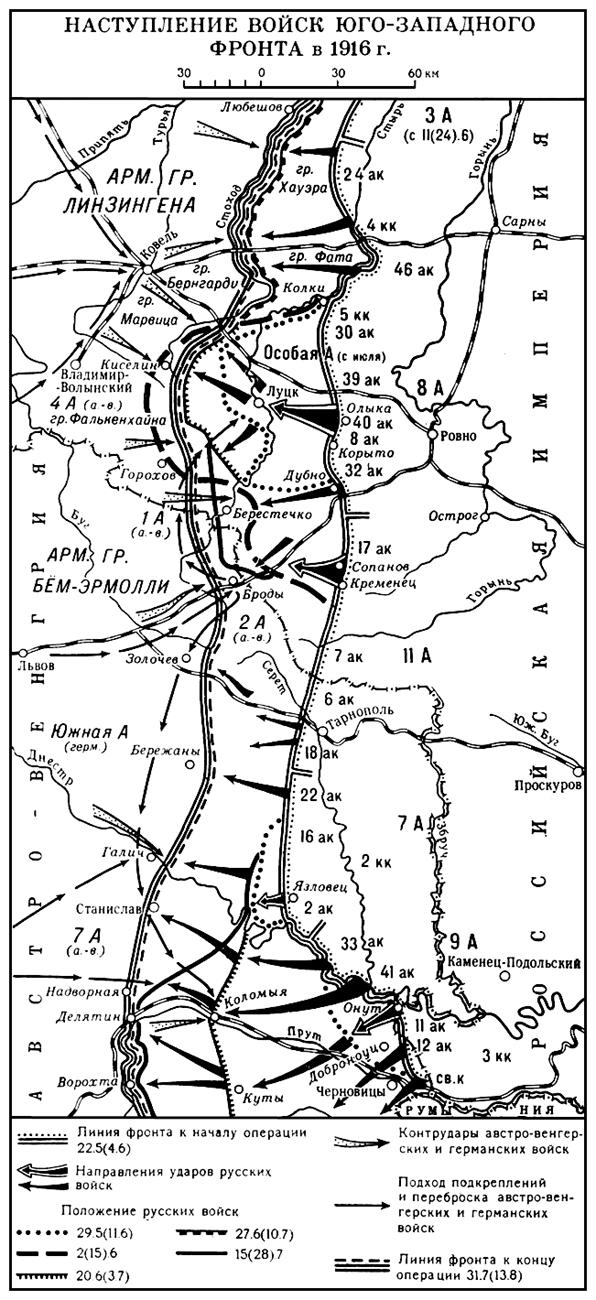 Наступление войск Юго-Западного фронта в 1916 г. (карта)