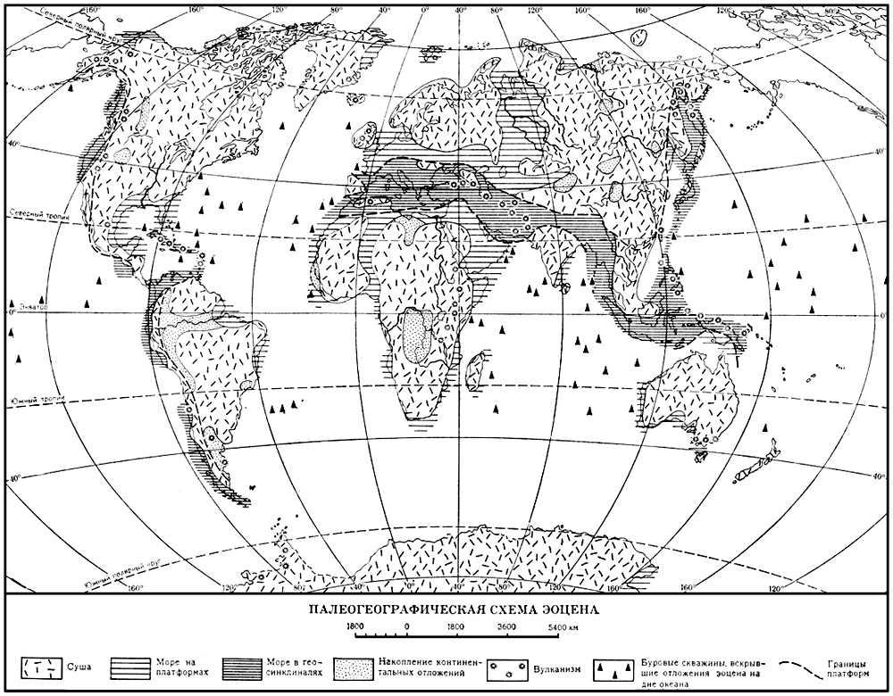 Эоцен. Палеогеографическая схема