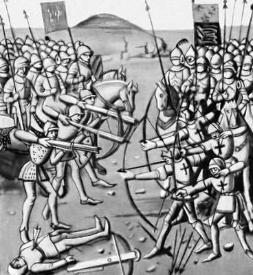 Эпизод битвы при Креси. Миниатюра