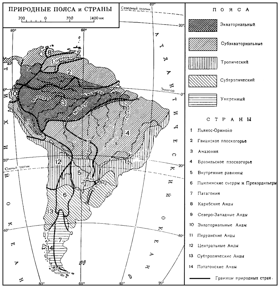 Южная Америка. Природные пояса и страны (карта)