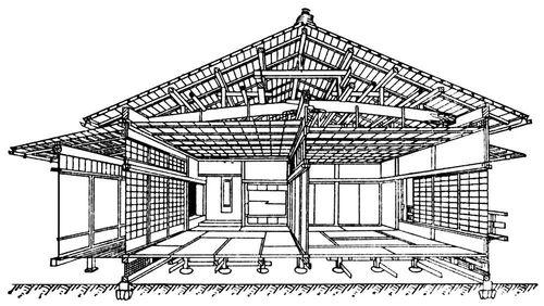 Японский жилой дом (схема конструкции)